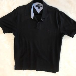 Tommy Hilfiger Men's Short Sleeve Polo Black Sz L